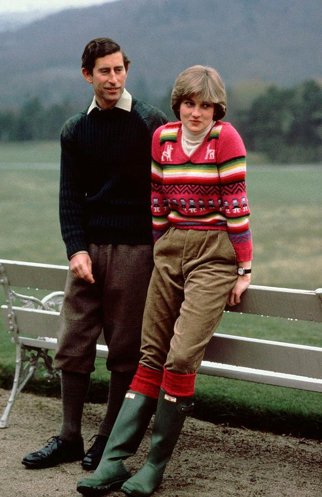 Prince Charles and Princess Diana in Balmoral before their wedding in 1981.