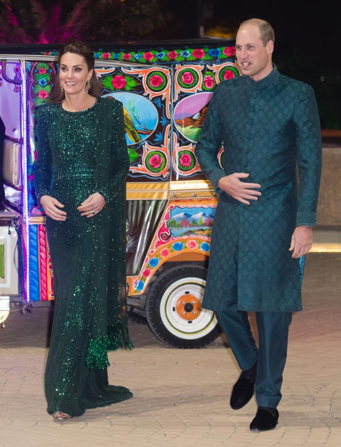 Kate Middleton (in Jenny Packham) and Prince William in a coordinating sherwani during their tour of Pakistan in October 2019.