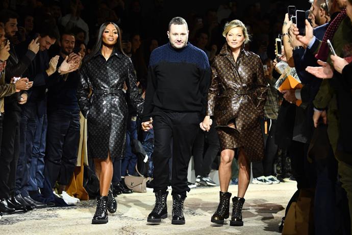 Closing Kim Jones' final Louis Vuitton menswear show in January 2018, alongside Kate Moss and Jones himself.