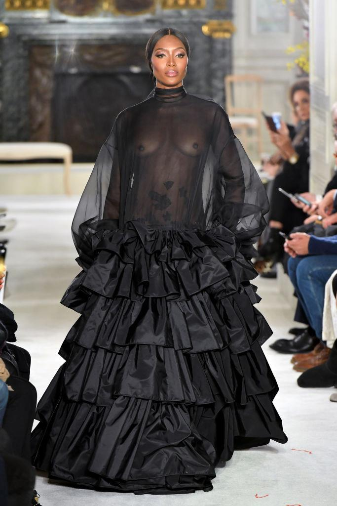 """In a sheer black ensemble on the runway at Valentino's spring/summer '19 haute couture show. The emotional show was said to have brought front row showgoer [Celine Dion](https://www.harpersbazaar.com.au/celebrity/celine-dion-pepe-munoz-relationship-19054