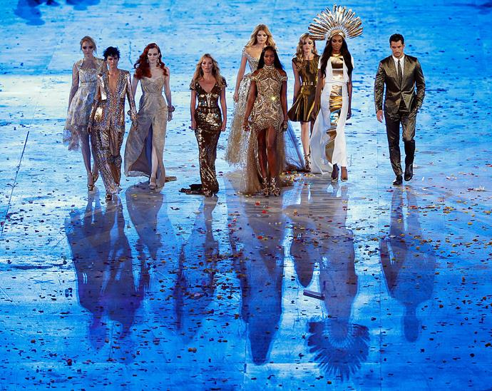 Walking on the runway at the London Olympic Stadium during the closing ceremony of the 2012 Olympic Games. Campbell was joined by fellow British supermodels Lily Cole, Stella Tennant, Karen Elson, Kate Moss, Lily Donaldson, Georgia May Jagger and Jourdan Dunn.