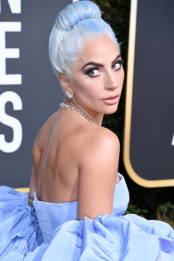"**Lady Gaga at the 2019 Golden Globe Awards**<br><br>  While Lady Gaga has arguably sported every hair colour known to humankind, the powder-blue hue she adopted to match her Valentino princess gown at the [2019 Golden Globes](https://www.harpersbazaar.com.au/beauty/golden-globes-2019-beauty-17903|target=""_blank"") remains masterful beauty moment to this day, marking her foray as a serious actress."