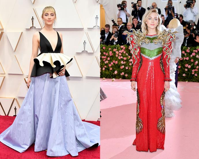 """**Saoirse Ronan** <br><br> Garnering her first Academy Award nomination at 13 years old, there was never a doubt that Saoirse Ronan was destined for greatness. Aside from acting, Ronan has paved her own way in the fashion world, too, with a well-documented love of experimental fashion (on the left, in sustainably-made Gucci at the 2020 [Academy Awards](https://www.harpersbazaar.com.au/fashion/oscars-2020-best-dressed-19912