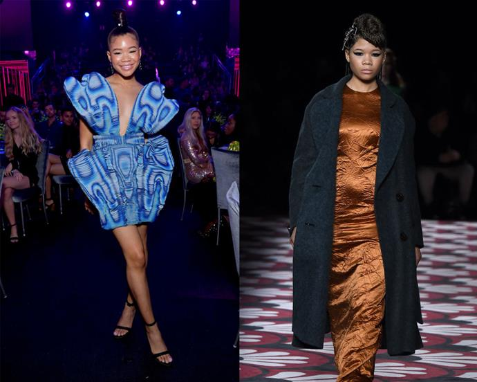 **Storm Reid** <br><br> It might be a little pre-emptive to call Storm Reid a 'fashion icon' given that she's only 16—but considering her current fashion trajectory, she's definitely on her way. The young actress, who's known for her roles in *A Wrinkle In Time* and *Euphoria*, opened Miu Miu's autumn/winter '20 show in March 2020 (right), and isn't afraid to sample experimental garments by the likes of Iris van Herpen (left), Thom Browne and Moschino.