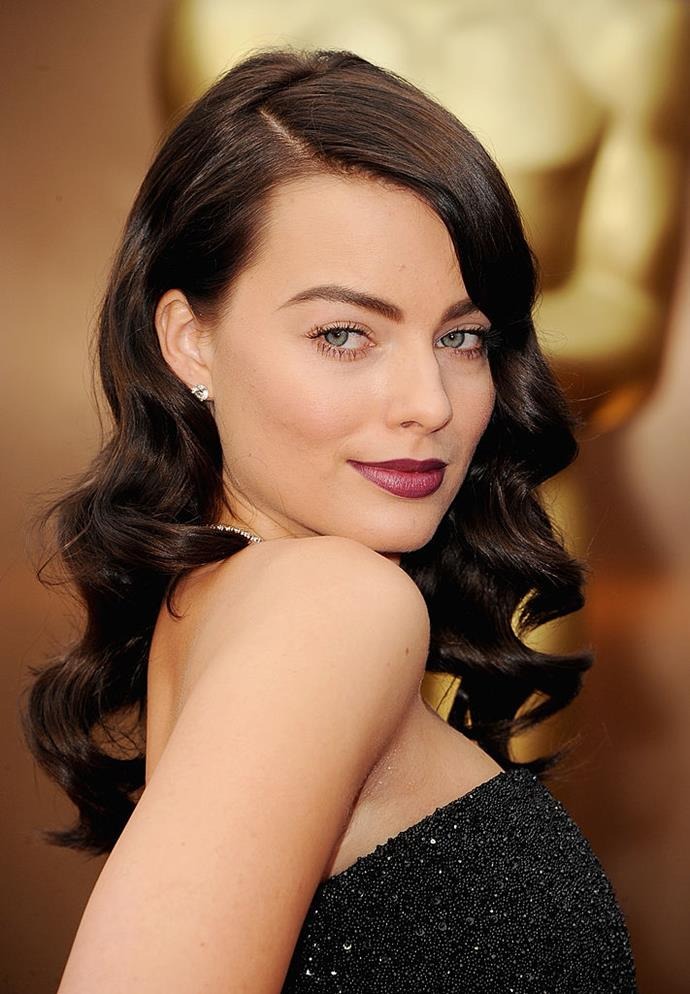 **Margot Robbie at the 2014 Academy Awards**<br><br>  While her colour of choice was not nearly as unconventional as Lady Gaga's, Margot Robbie debuting bombshell brunette hair at the 2014 Oscars made for the Australian actress' most dramatic look to date.