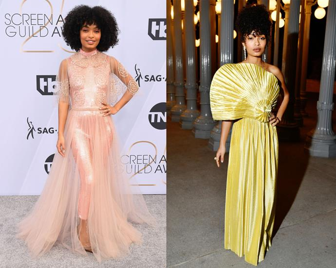 **Yara Shahidi** <br><br> *Black-ish* star Yara Shahidi dresses as any 20-year-old should—with courage, conviction and personality. Aside from the fact that Oprah Winfrey has said she thinks Shahidi will be President one day, the young star's style has timeless, mature appeal, from ethereal Gucci (right) to bespoke Fendi (left).