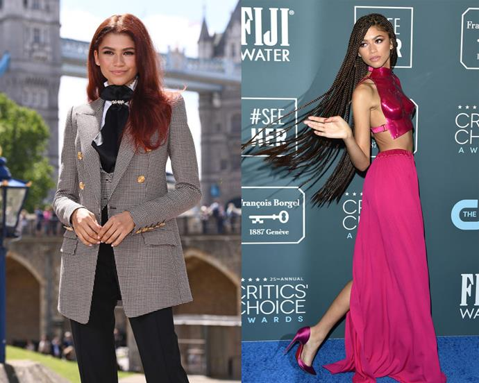 """**Zendaya** <br><br> After her wardrobe efforts in 2019 (let alone, *that* [Tom Ford ensemble](https://www.elle.com.au/fashion/zendaya-metal-breastplate-22879