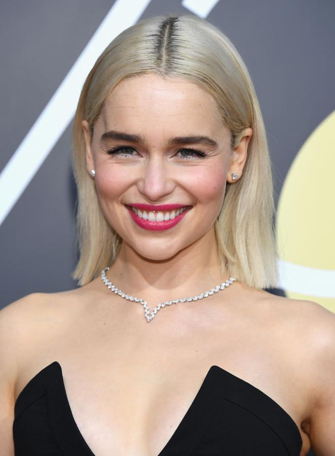 "**Emilia Clarke at the 2018 Golden Globes**<br><br>  The 2018 Golden Globes marked Emilia Clarke's first major award show since dyeing her natural brunette hair to platinum, Khaleesi-blonde, and it certainly set tongues wagging.<br><br>  The Mother of Dragons later elaborated on what it was like to take on the lighter hue in an interview with *Harper's BAZAAR* U.K., saying that that it felt like she was ""constantly wearing an accessory"".<br><br>  ""I feel like being this blonde is kind of like you're constantly wearing an accessory. So, you can wear all black and be like 'I tried! There you go', whereas when you're brunette and wearing all black it's like, 'meh', do you know what I mean?"" she said.<br><br>"
