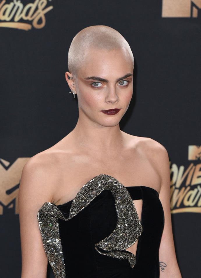 "**Cara Delevingne at the 2017 MTV Music Awards**<br><br>  Even though it became one of the most memorable red carpet beauty looks of 2017, Cara Delevingne was told not to shave her head for her role as a cancer patient in *Life In A Year*.<br><br>  ""Before I even got the project, I said to the director, 'I want to shave my head for it'. My agents and managers were like, 'Please don't! Why would you do that?',"" she told [*ELLE* U.K.](https://www.elle.com/uk/life-and-culture/culture/news/a35399/cara-delevingne-shaves-head-hair-film-role/
