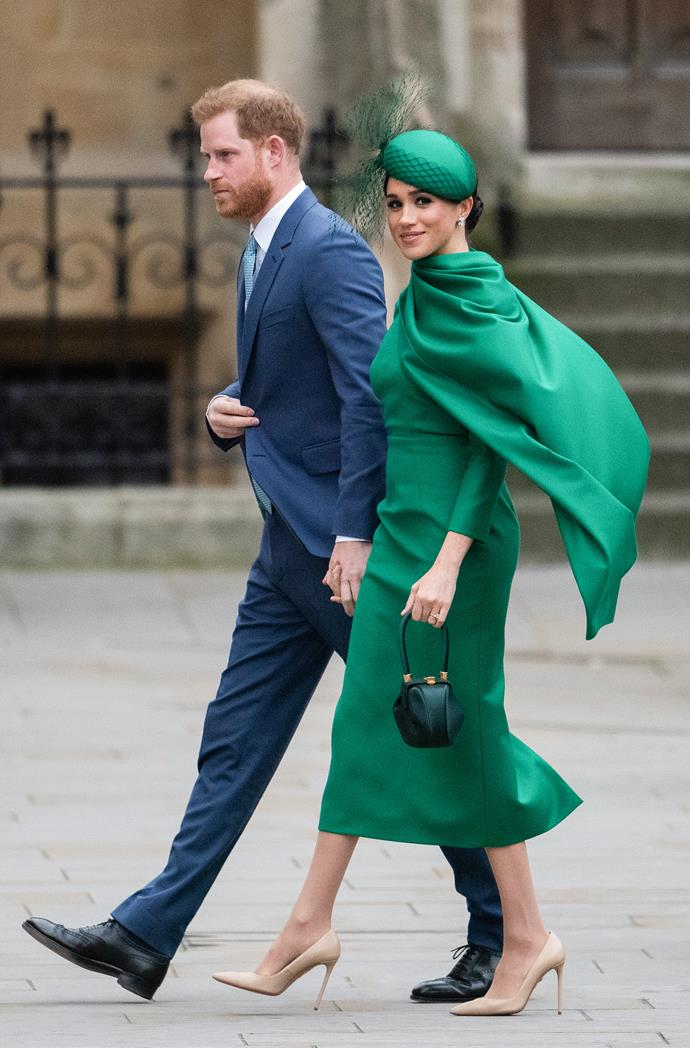 Meghan Markle (in Emilia Wickstead) and Prince Harry in March 2020.