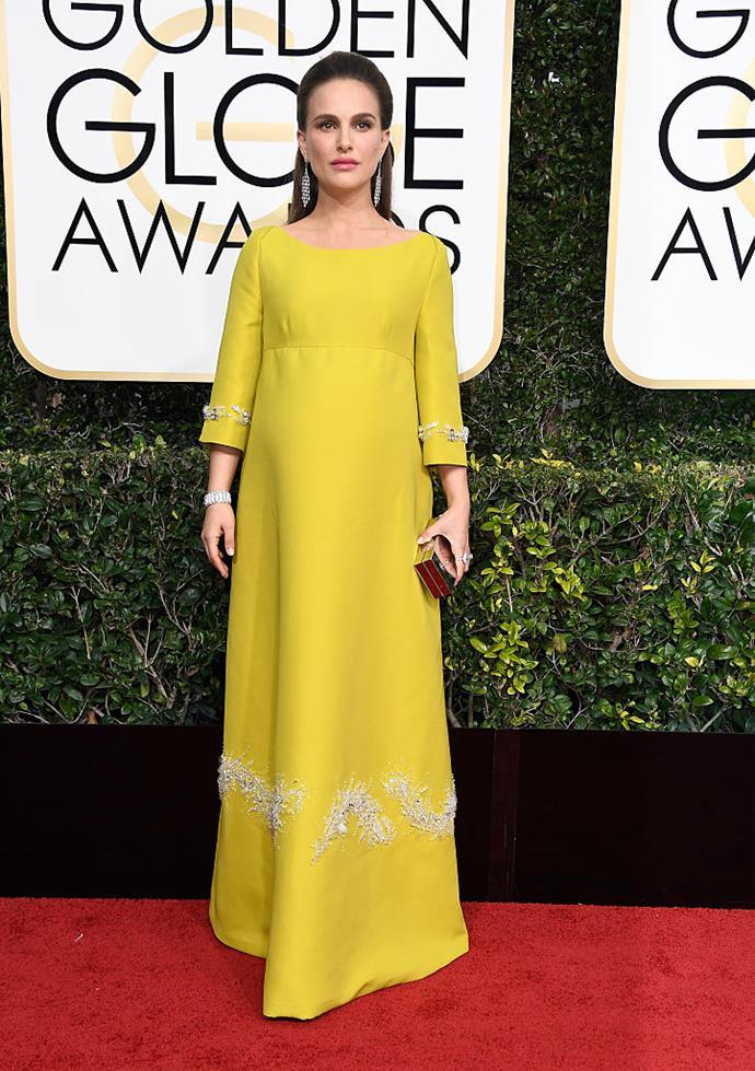Natalie Portman in Prada at the 2017 Golden Globes.