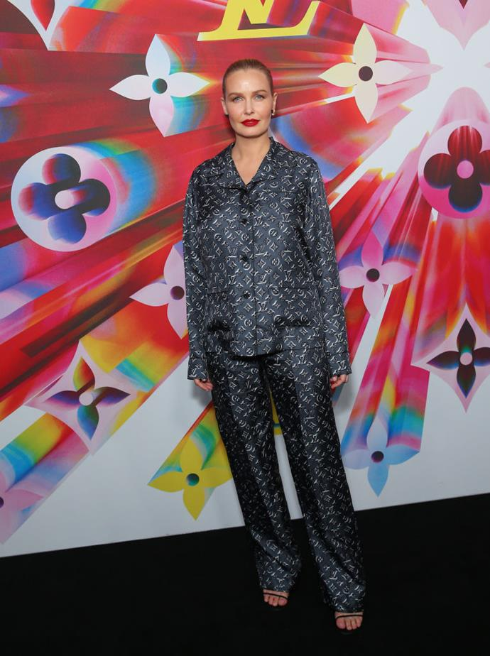 Lara Worthington in Louis Vuitton at a Louis Vuitton store opening in Sydney in 2019.