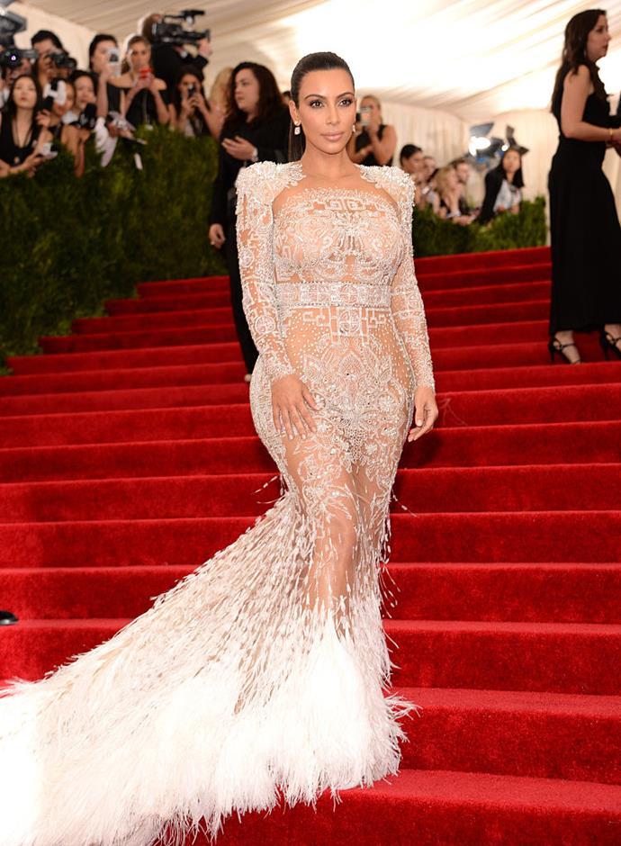 Kim Kardashian West in Roberto Cavalli at the 2015 Met Gala.