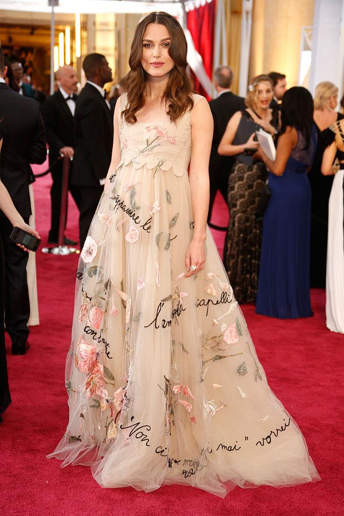 Keira Knightley in Chanel at the 2015 Academy Awards.