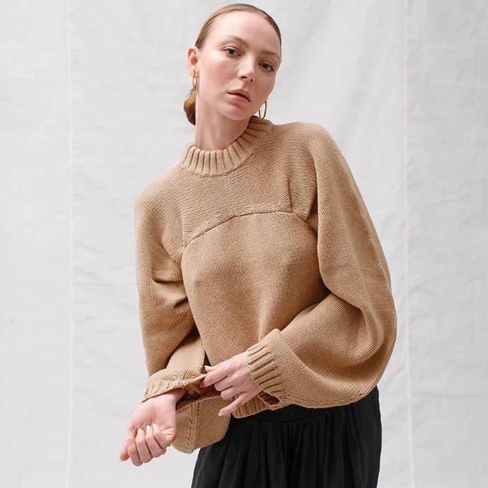 """Ursula Wool Cotton Knit in Camel Marle, $359 from [Joslin Studio](https://joslinstudio.com/collections/knitwear/products/ursula-cotton-cashmere-knit