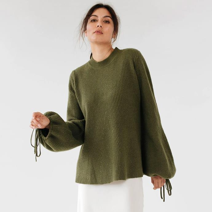 """Georgette Knit in Dark Sage, $420 from [Marle](https://www.marle.co.nz/collections/knitwear/products/georgette-knit-dark-sage
