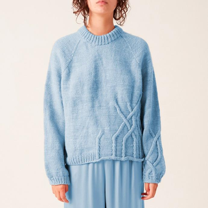 """Hand Knit Simple Wandering Cable In Sky, $1,100 from [Wolfgang Scout](https://www.wolfgangscout.com/knitsedition3/simplecable-sky