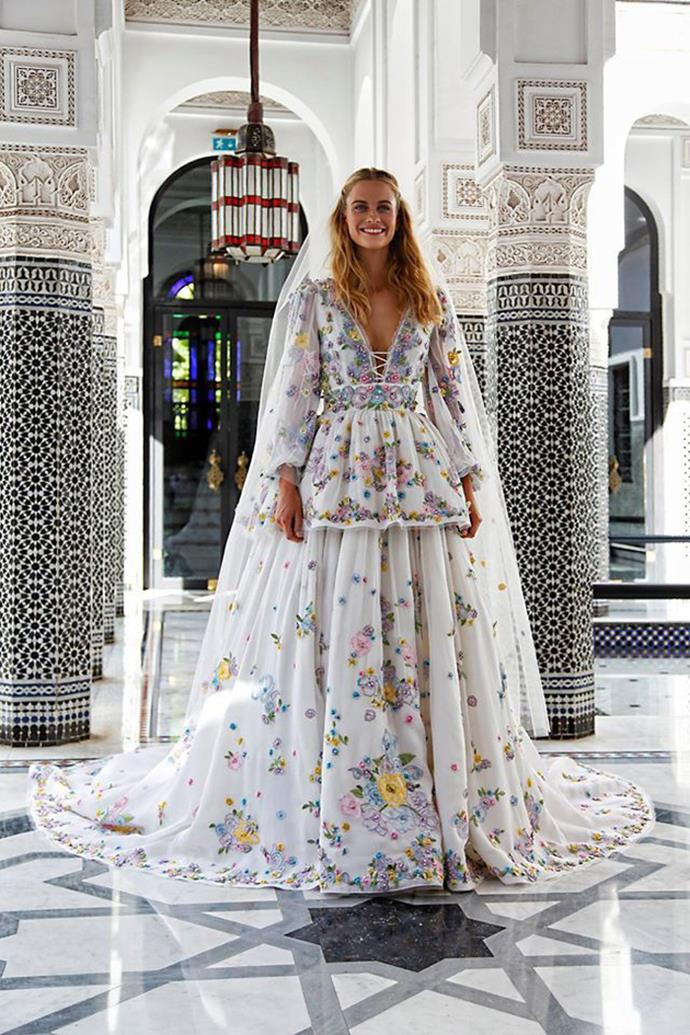 """**Poppy Delevingne and James Cook**<br><br>  While many will remember Poppy Delevingne and James Cook's London wedding ceremony from 2014 (who could forget her stunning custom [Chanel Couture gown](https://www.harpersbazaar.com.au/celebrity/poppy-delevingne-weds-in-chanel-couture-7993