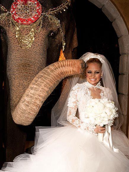 """**Nicole Richie and Joel Madden**<br><br>  Bringing new meaning to the phrase """"the elephant in the room"""", Nicole Richie brought in an actual elephant to greet her and Joel Madden's 155 guests at their 2010 Beverly Hills wedding. The rationale? Elephants are supposedly good luck and strength. Funnily enough, Madden wasn't aware of Richie's 'good luck charm' until the day of their wedding.<br><br>  """"I was like, 'What?' Then I just laughed—Nicole getting an elephant and not telling me is typical of our relationship,"""" he told [*People*](https://people.com/pets/so-about-that-elephant-at-nicole-richies-wedding/