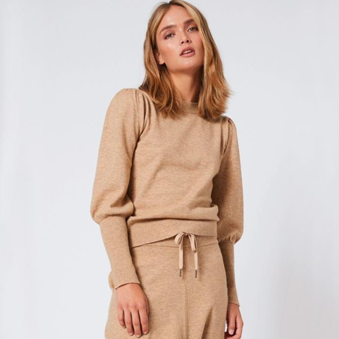 """Ambrosia Pullover in Toffee, $299 from [Morrison](https://morrisonshop.com/knitwear/ambrosia-pullover-toffee.html