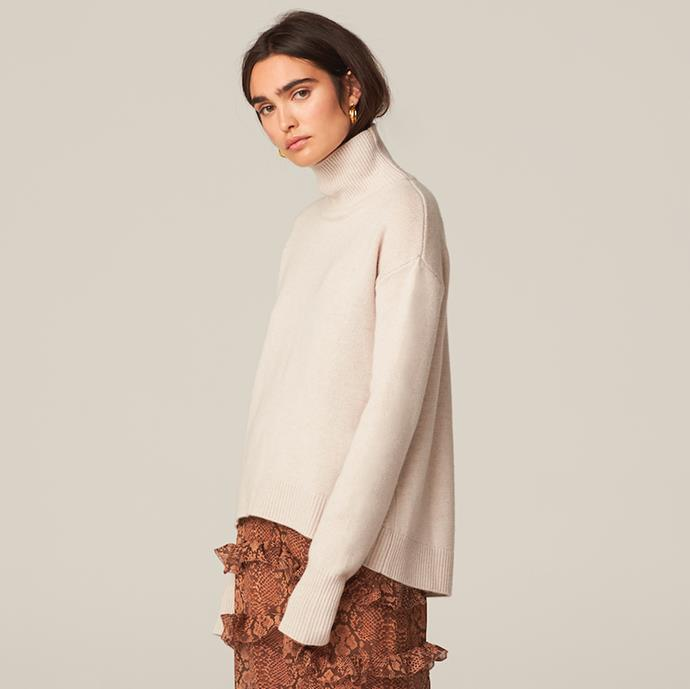 """Cleo Sweater in Oatmeal, $440 from [H Brand x Theron](https://hbrand.com.au/shop/cleo