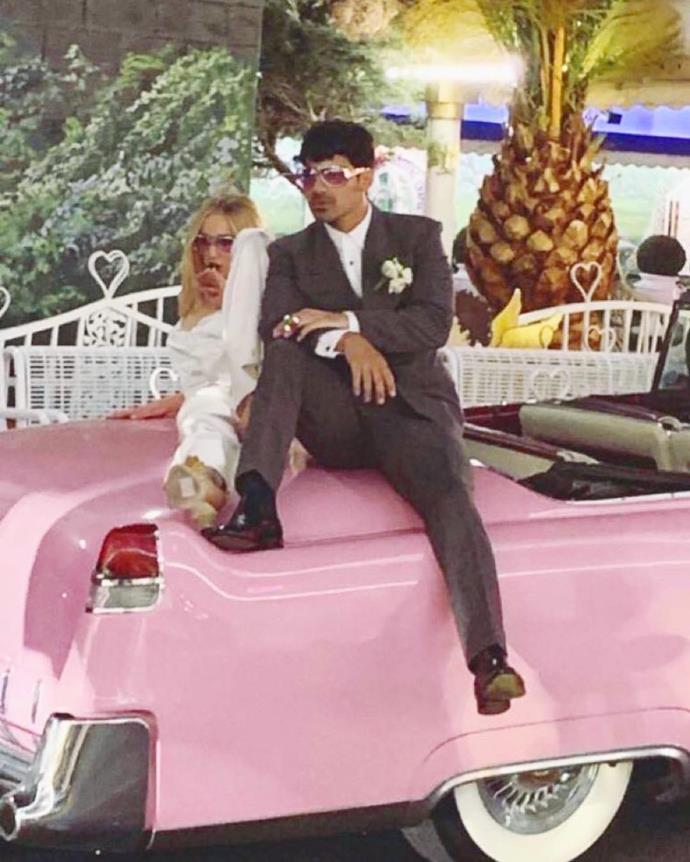 """**Sophie Turner and Joe Jonas**<br><br>  While you could argue that getting married in Las Vegas is nothing out of the ordinary, there's no denying that Sophie Turner and Joe Jonas put their own unique spin on the 'quickie' wedding. Married in May 2019, the pair were reportedly wed by an Elvis impersonator (normal) and exchanged ring pops as wedding bands (less normal), which Diplo [livestreamed](https://www.elle.com.au/celebrity/sophie-turner-joe-jonas-vegas-wedding-reason-20392