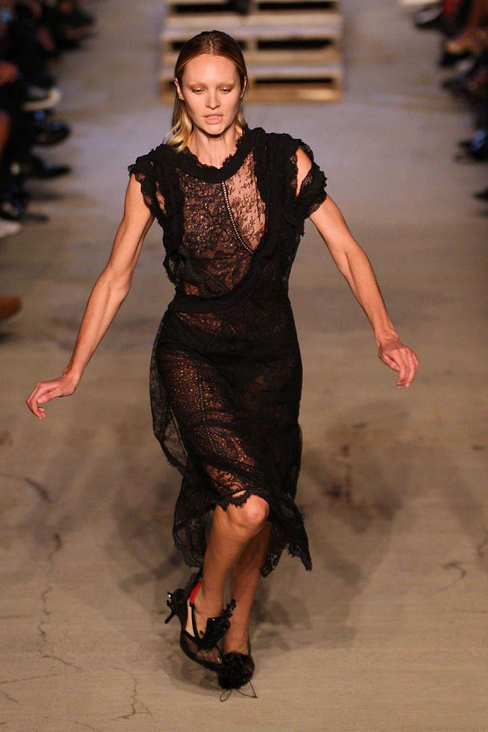 """**Candice Swanepoel at Givenchy spring/summer '16** <br><br> A pair of slippery, pointy shoes were the culprit behind Candice Swanepoel's unfortunate fall at Givenchy's spring/summer '16 show in New York. <br><br> Though front row showgoers jumped up to help her off the ground, the South African super got up in seconds and resumed her runway walk like a pro. She later wrote on Instagram: """"I left with little scratches but mostly a bruised ego."""" <br><br> *Watch the clip below.*"""