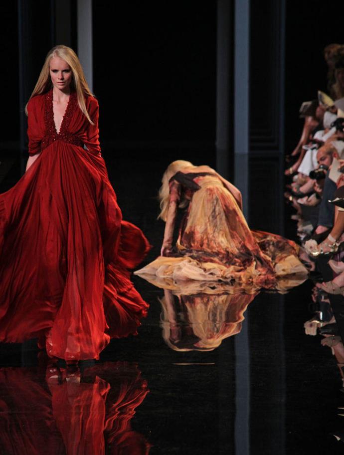 **Karolína Kurková at Elie Saab autumn/winter '11** <br><br> Supermodel Karolína Kurková lost her footing on the black enamel floor at Elie Saab's autumn/winter '11 haute couture show in 2011.