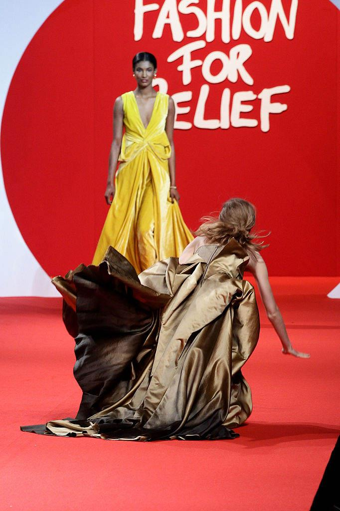 **Lindsey Wixson at Fashion For Relief 2011** <br><br> Naomi Campbell assembled a major guard of supermodels for her 2011 Fashion For Relief show, which raised millions of dollars for Japanese tsunami sufferers. Model Lindsey Wixson, however, didn't have the best day, and tripped over not once, not twice, but three times in her copper-coloured gown. (Imagine looking *this* good while stumbling.)