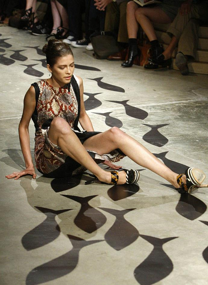 """**Various models at Prada's spring/summer '09 show** <br><br> Prada's spring/summer '09 show became infamous for its slippery shoes (or, to be more specific, shoes worn with silk socks), which caused various models to trip or tumble on the runway. <br><br> According to *The Telegraph* (quote per *[The Cut](https://www.thecut.com/2008/09/two_models_fall_many_more_stum.html target=""""_blank"""" rel=""""nofollow"""")*), an unnamed model said of being backstage: """"I was having a panic attack, my hands were shaking. The heels were so high. Some of the girls were crying backstage they were so scared."""""""