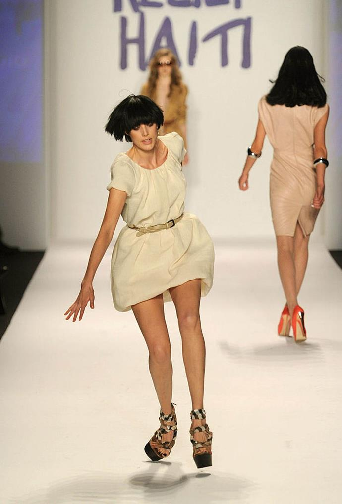 **Agyness Deyn at Fashion For Relief 2010** <br><br> A year prior to Wixson's fall at Fashion For Relief, British supermodel Agyness Deyn fell down at the 2010 charity show, before removing her precarious platform shoes and walking the rest of the runway barefoot.