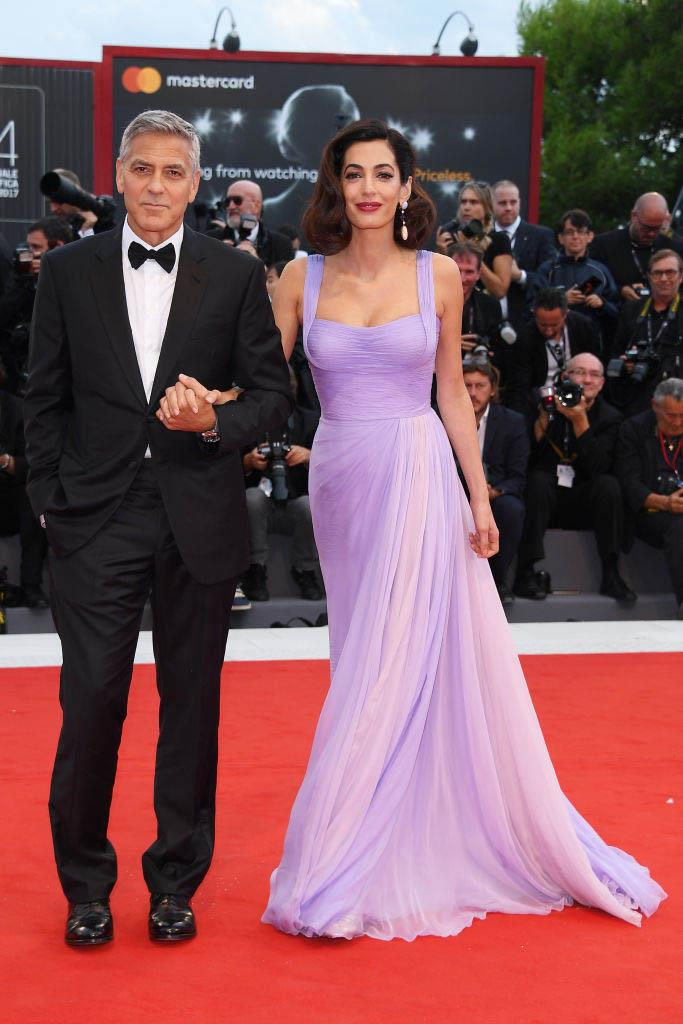 Amal Clooney in Atelier Versace with George Clooney (2017)