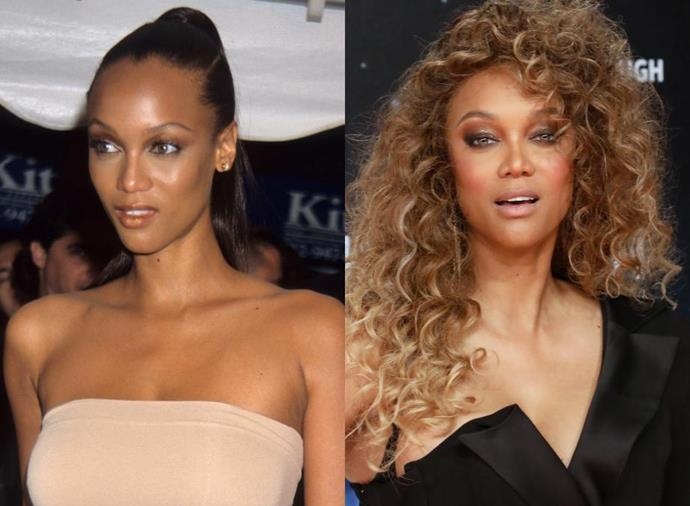 """**Tyra Banks**<br><br>  From supermodel to super-mogul, Tyra Banks has had one seriously impressive career trajectory. The 46-year-old first entered into the world of modelling in 1990 when she was just 15. The following year, Banks (pictured left in 1990, and right in 2019) booked a record 25 shows at Paris Fashion Week. Her career hit a milestone in 1996, when she became the first African-American model to appear on the cover of *Sports Illustrated's* Swimsuit issue (she even recreated [that iconic cover](https://www.harpersbazaar.com.au/fashion/tyra-banks-sports-illustrated-cover-recreated-18620