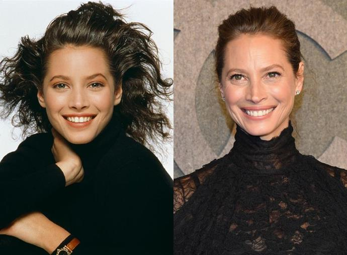 **Christy Turlington Burns**<br><br>  Boasting an incredible career spanning decades, Christy Turlington Burns (pictured left in 1986, and right in 2018) was first discovered at the age of 14, although her career didn't take off until a few years late. She famously signed a seven-figure contract with Calvin Klein in 1989, became a face for Maybelline in 1992 and was part of *that* iconic Versace runway moment. In the last decade, Turlington Burns acquired her Masters in Public Health from Columbia University and made her directorial debut with the documentary film *No Woman, No Cry*, which exposed maternal health issues in different parts of the world.