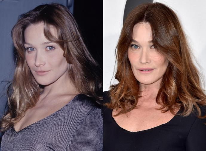 **Carla Bruni**<br><br>  The Italian-born-French-raised Carla Bruni commenced her modelling career in the late '80s walking for the likes of Christian Dior, Givenchy, Christian Lacroix, and more. By the 1990s (pictured left at the start of the decade), she was among the 20 highest-paid models in the world. In 1997, Bruni quit modelling to pursue music, going on to become a highly successful singer-songwriter. While she doesn't regularly take to the runway these days, Bruni (pictured right in february 2020) memorably joined Schiffer, Campbell, Christensen and Crawford to close Versace's spring/summer 2018 show to honour the late Gianni Versace.