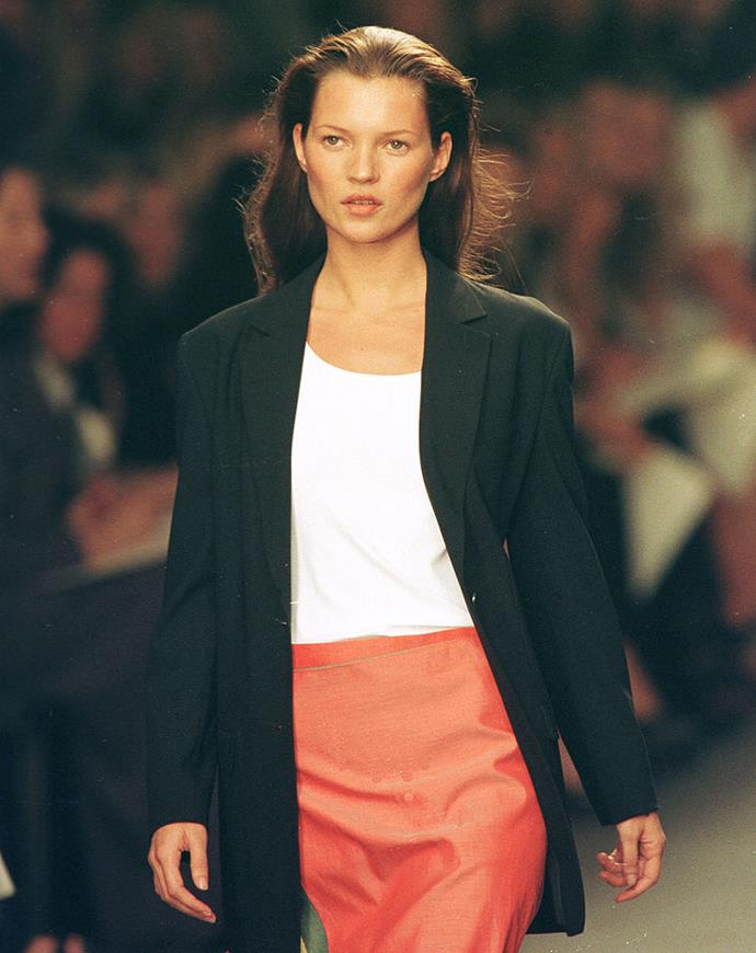 Kate Moss on the runway at Calvin Klein, 1998