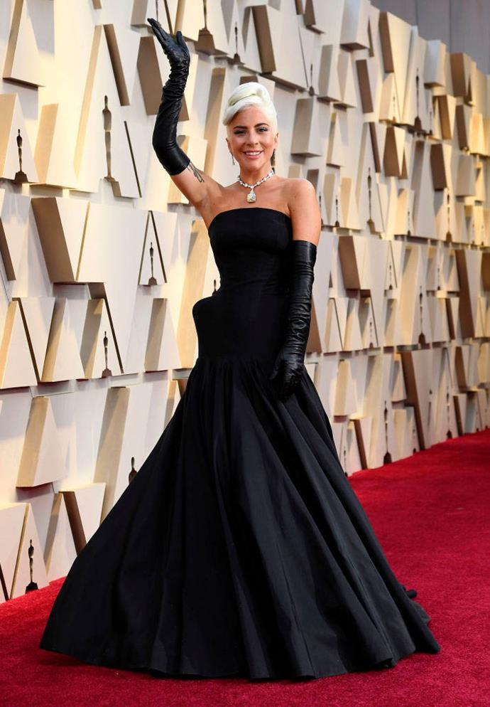 Gaga at the 2019 Academy Awards, wearing an Alexander McQueen gown and the famous 'Tiffany Diamond'.