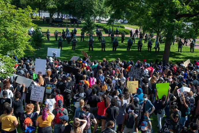 Protesters across the road from the White House in Washington, D.C. on May 31, 2020.