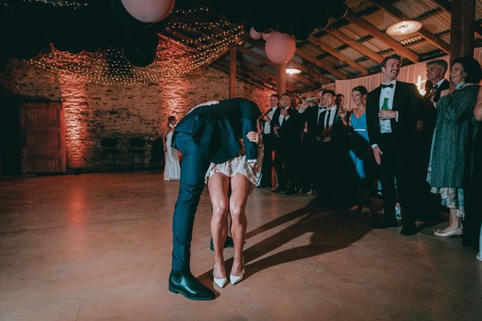 """**On their first dance:** We did a choreographed dance to """"Three Rounds and a Sound"""" by Blind Pilot."""