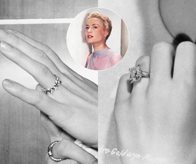 "***Grace Kelly***<br><br> When Prince Rainier of Monaco originally proposed to actress Grace Kelly in 1956, he did so with a Cartier eternity band set with alternating diamonds and rubies—a nod to the colours of Monaco's flag. At the time, it was described by the press as ""fashioned from two family heirlooms, in the form of a diamond circlet and ruby circlet intertwined.""<br><br> However, shortly after, the band was replaced by something a little more sizeable: Kelly's now-famous 10.48 carat emerald-cut diamond ring, also by Cartier. Rumour has it that Kelly was meant to wear a large prop ring in her movie *High Society*, but Rainier offered to buy her a real one 'that she could keep.' She happily exclaimed that ""now I can wear my real engagement ring"". A friend later explained that the first ring was always a ""friendship ring,"" meant to be worn while a ""proper engagement ring"" was being made."