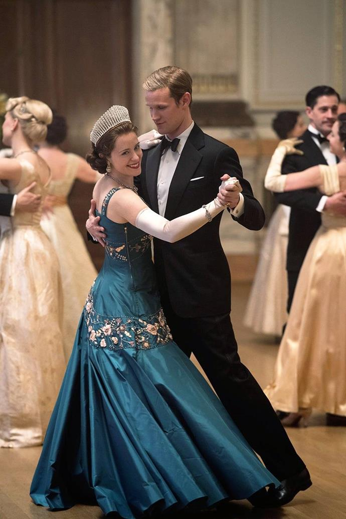 """***The Crown***<br><br>  Considering the ensembles on *The Crown's* are often recreations of [real-life royal looks](https://www.harpersbazaar.com.au/culture/the-crown-costumes-in-real-life-15255 target=""""_blank""""), it's unsurprising that the show offers plenty to enjoy as far as fashion goes. From bejewelled ball gowns, to elegant equestrian attire and dresses for diplomatic missions, there's no shortage of regal style across the spectrum.<br><br>"""