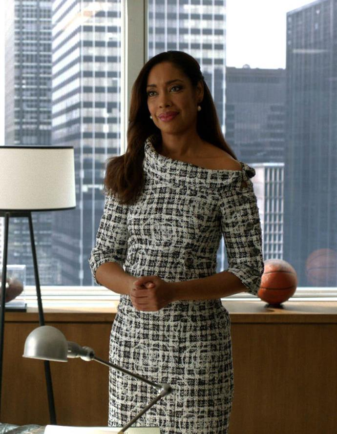 """***Suits***<br><br>  While it might not be traditionally fashion-oriented show like *Gossip Girl*, *Suits* had plenty of admirable ensembles to offer in the [fictional work wardrobe](https://www.elle.com.au/fashion/tv-characters-work-wardrobes-21076 target=""""_blank"""") department. Between Jessica's elegant take on feminine tailoring, Rachel's knack with a slick, power pencil skirt and Donna's ability to elevate the humble shift dress, the show's portrayal of corporate dressing was definitely one of the small screen's best."""