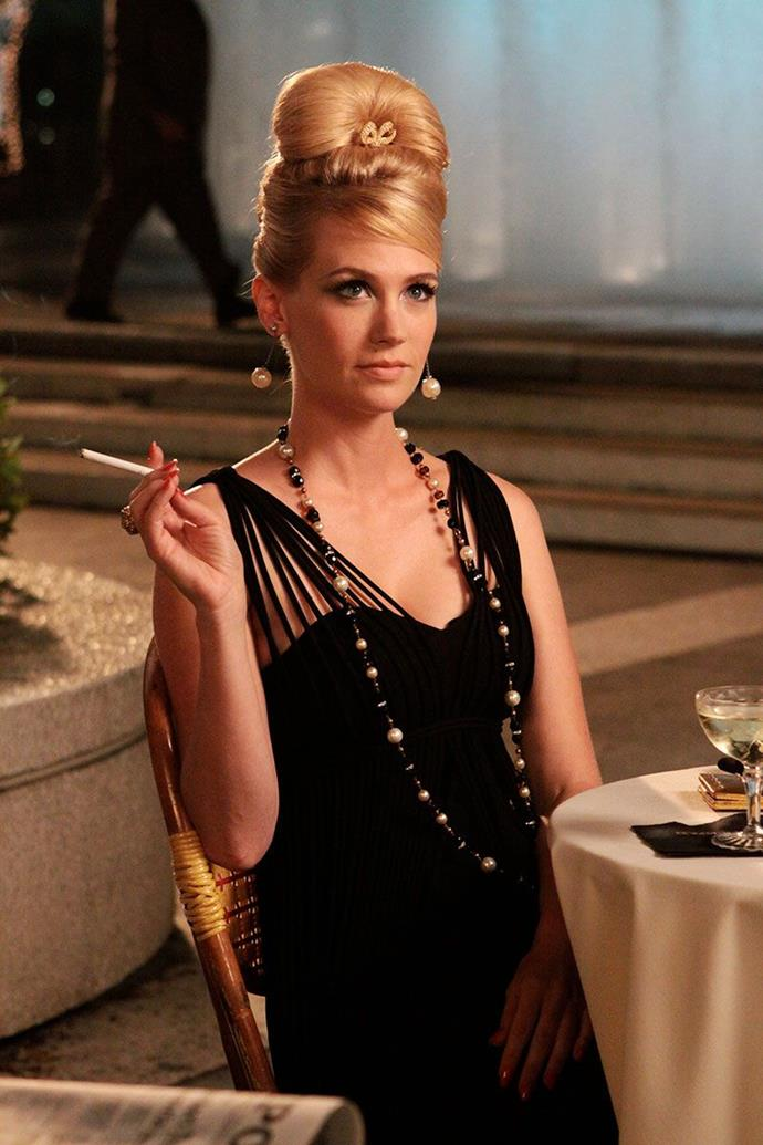 ***Mad Men***<br><br>  Spanning 1960 through to 1970, *Mad Men* gave us an entire decade of vintage fashion to devour. The beginning of the era served us cinched waistlines, cat-eye sunglasses and immaculate coiffures, before evolving in the latter half—much like the characters—into psychedelic prints, shift dresses and bell bottoms.