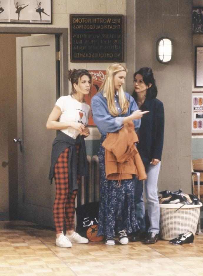 """***Friends***<br><br>  A case study in classic '90s style, *Friends* gave us all the best the era had to offer. From plaid pants and decade-appropriate micro-mini skirts with knee-high boots ([Rachel](https://www.elle.com.au/news/the-best-of-rachel-green-from-friends-fashion-9862 target=""""_blank"""")), to old school athleisure and classic mom jeans ([Monica](https://www.elle.com.au/culture/monica-geller-friends-outfits-19757 target=""""_blank"""")) and even Phoebe's quirky, boho pieces, there was something for everyone."""