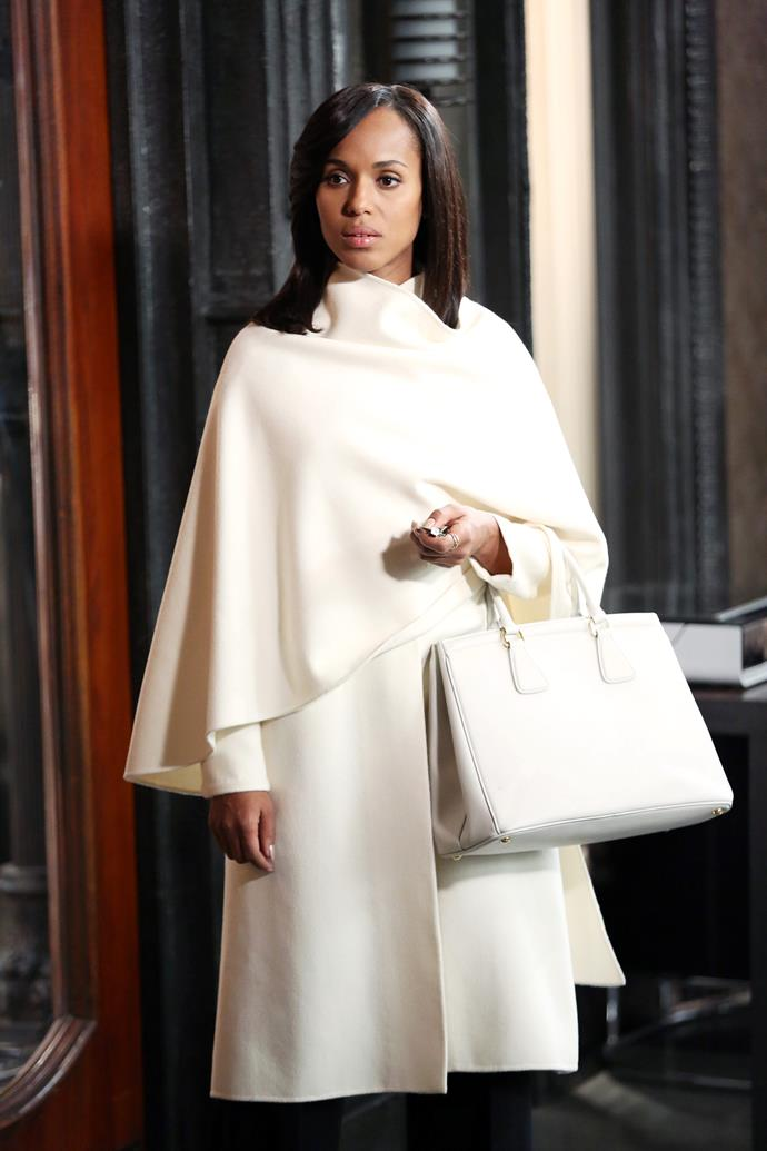 ***Scandal***<br><br>  While it may have been a political show with a fast-paced plot, *Scandal* delivered its quota of sartorial excellence, thanks to the inimitable Olivia Pope (played by Kerry Washington). Given in her role as the White House's communications director where she 'neutralised' PR disasters, it's unsurprising that Olivia's trousseau consisted primarily of cream, ecru and champagne hues in timeless cuts.