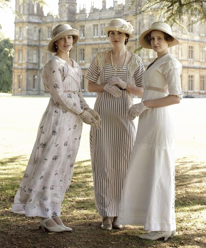 ***Downton Abbey***<br><br>  Offering Edwardian era fashion at its finest, *Downton Abbey* provided viewers with a plethora of stylish silhouettes and designs from the period. As the show's timeline moved into the '20s, so too did its fashion, with fringed flapper dresses and chin-grazing bobs reigning supreme.