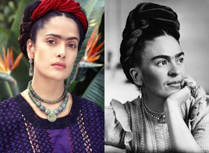 **Salma Hayek as Frida Kahlo in** ***Frida*** **(2002)**<br><br>  Salma Hayek garnered attention not only for her portrayal of famed Mexican artist Frida Kahlo, but for closely resembling her onscreen, right down to her famous monobrow. Hayek's depiction of Kahlo earned her an Oscar nomination for Best Actress in 2003.