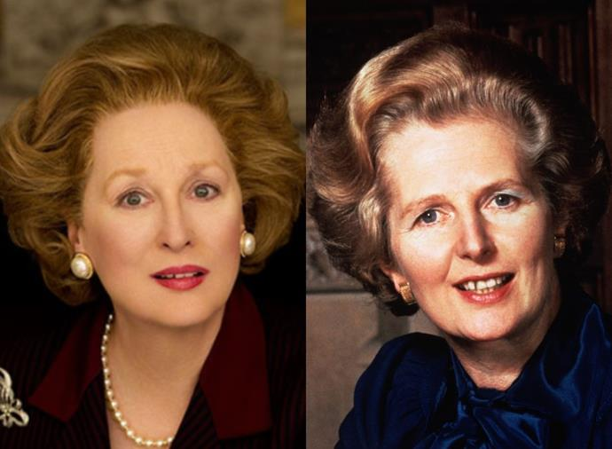 """**Meryl Streep as Margaret Thatcher in** ***The Iron Lady*** **(2011)**<br><br>  Delivering an Oscar-winning performance as Margaret Thatcher, Meryl Streep wore [pliant silicone prosthetics](https://www.vanityfair.com/culture/2012/02/iron-lady-makeup-fake-nose-meryl-streep-margaret-thatcher-sketch-to-still