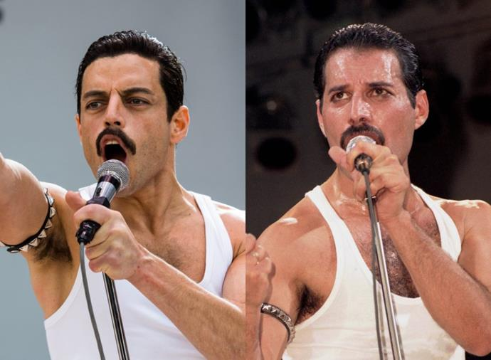 **Rami Malek as Freddie Mercury in** ***Bohemian Rhapsody*** **(2018)**<br><br>  While a set of false teeth, a prosthetic nose, specially contoured makeup and wigs certainly helped to transform Rami Malek into the Queen frontman, the actor also spent over a year undertaking singing lessons, piano lessons and channelling Mercury's dance moves (sans choreographer) to honour his spontaneous on-stage presence.
