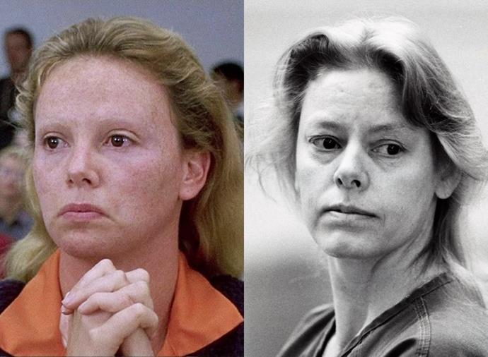 """**Charlize Theron as Aileen Wuornos in** ***Monster*** **(2003)**<br><br>  Widely considered one of the best onscreen transformations of all time, Charlize Theron's Oscar-winning portrayal as Aileen Wuornos, a Florida sex worker and serial killer, was lauded by film critic Roger Egbert as """"one of the greatest performances in the history of the cinema""""."""